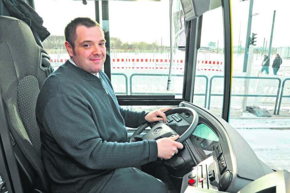 Busfahrer André Puhl (33) eröffnete die neue Ringbuslinie.