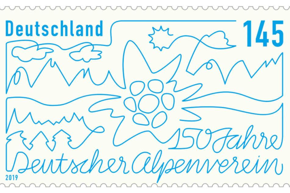 Die Sonderbriefmarke hat eine Auflage von etwa 3,3 Millionen Stück und zeigt die Silhouette einer Bergkette mit Sonne, Wolken und einem Edelweiß als Vereinslogo in der Mitte.