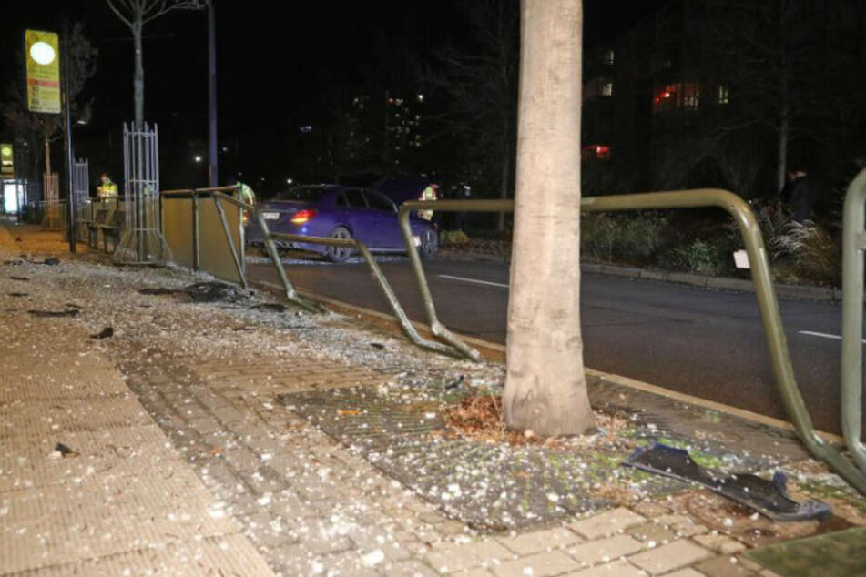 Blick auf die Unfallstelle im Dresdner Zentrum.