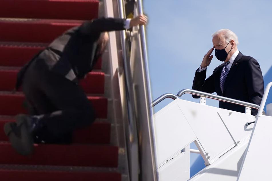 Gleich dreimal: US-Präsident Biden stürzt auf Flugzeugtreppe