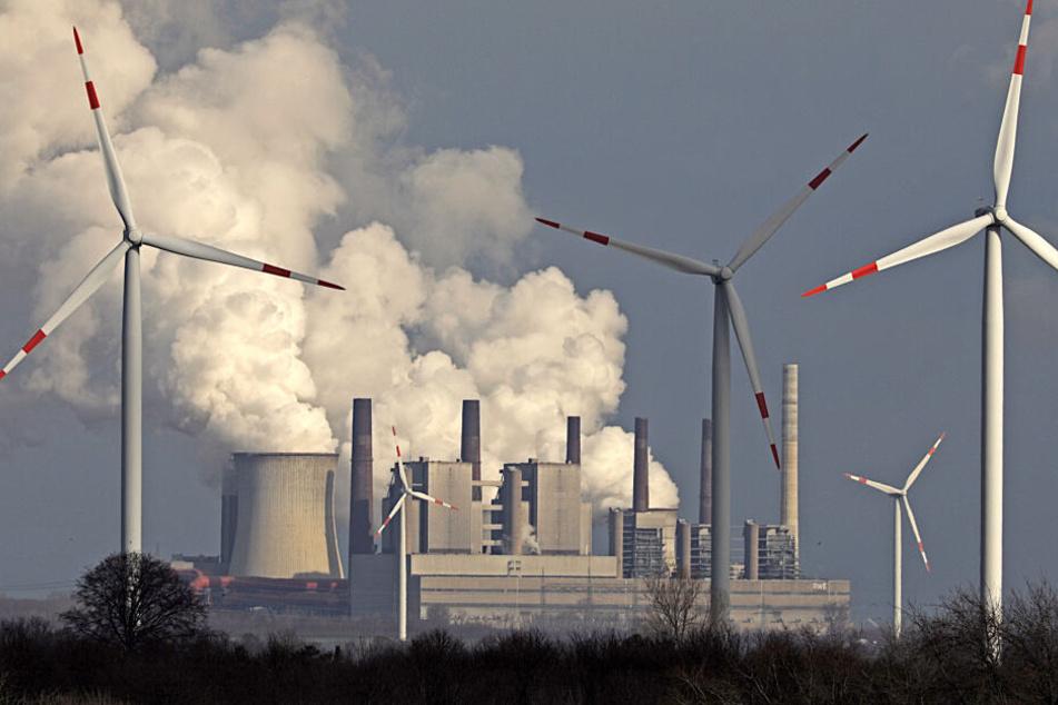Windräder vor einem Kraftwerk in NRW.