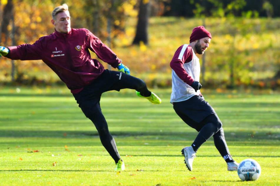 Niklas Kreuzer (r.) und Torwart Kevin Broll waren Teil der reduzierten Trainingsgruppe während der Länderspielpause.