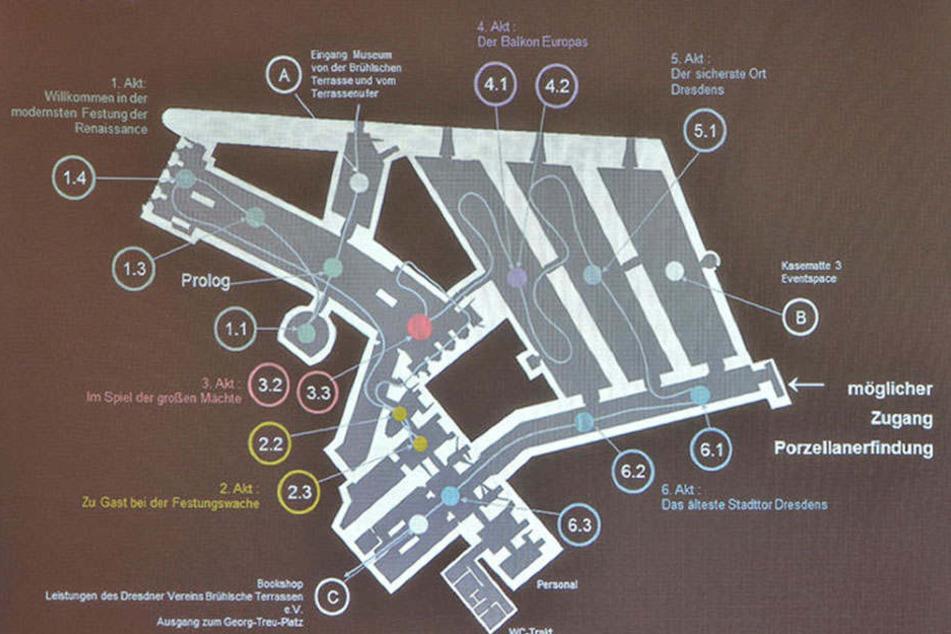 """In den 1990er Jahren legten die Mitglieder des Dresdner Vereins Brühlsche  Terrasse e. V. die verschütteten Anlage wieder frei. Bis zum 9. Januar war das  Museum """"Festung Dresden"""" geöffnet."""