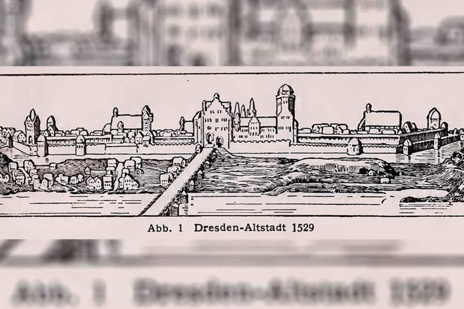 Dresdens Elbbrücke im Jahr 1529 mit Blick von der Neustädter Seite auf die Altstadt.