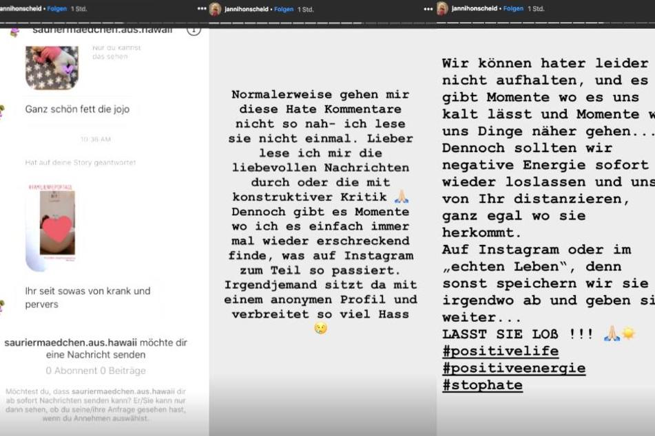Janni Hönscheid (29) wehrt sich auf Instagram gegen ihre Hater.