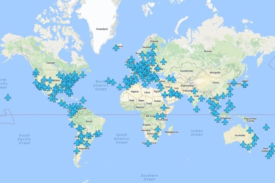 Die Karte zeigt die verfügbaren Flughäfen an.