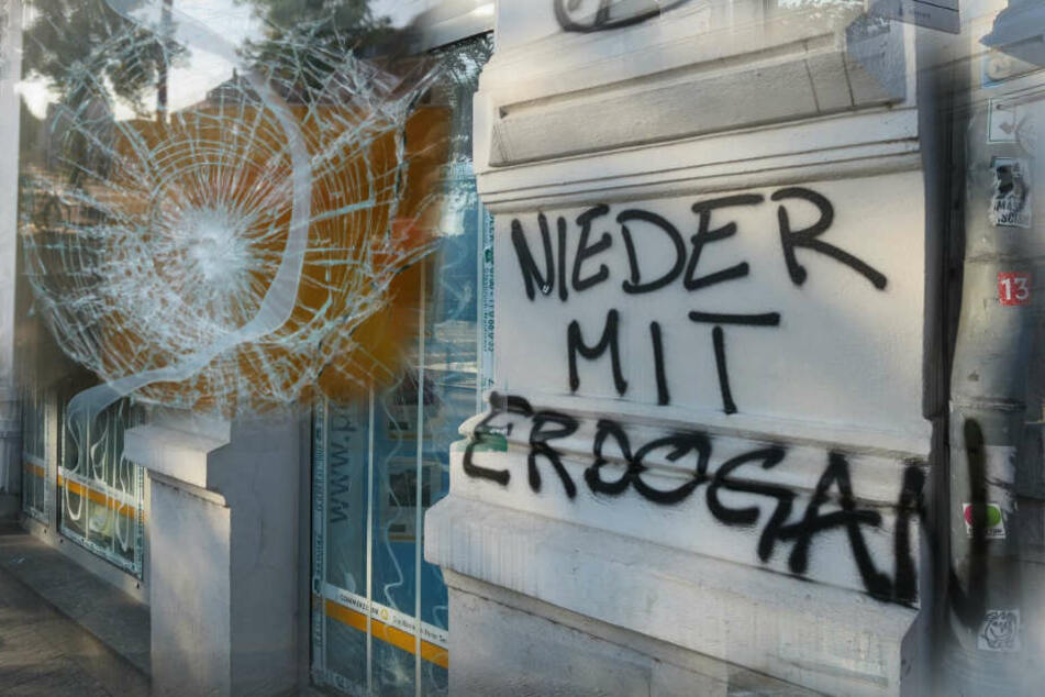 """Am Donnerstag hatten unbekannte Täter die Scheiben der Commerzbank-Filiale mit Steinen beworfen und """"Nieder mit Erdogan"""" an die Hauswand gesprüht."""