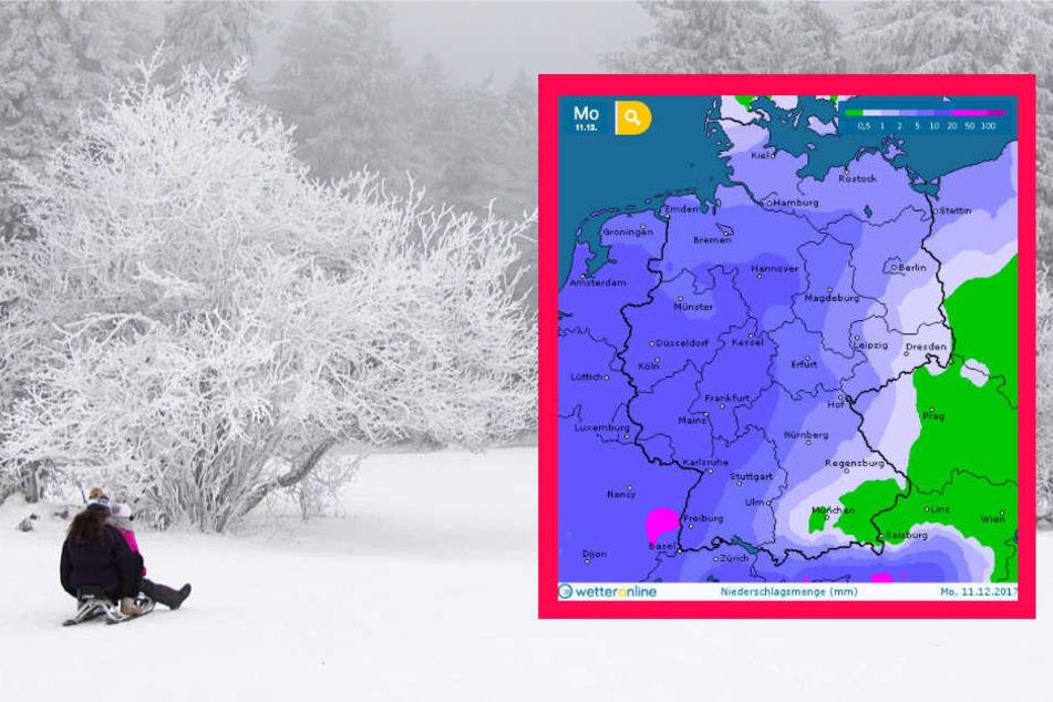 Am Sonntag konnte im Taunus ausgiebig gerodelt werden. Für den Montag jedoch kündigt wetteronline.de (Grafik) Regen an.