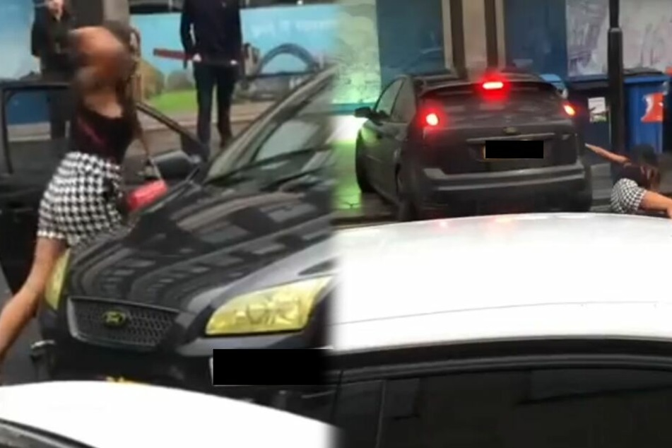 Streit eskaliert völlig: Frau hämmert ihre High Heels gegen Auto, dann passiert Unglaubliches