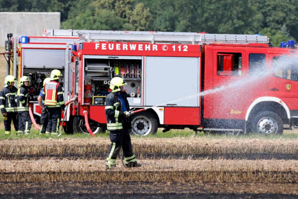 Insgesamt bekämpften circa 25 Feuerwehrleute aus Euba und Chemnitz den Feldbrand.