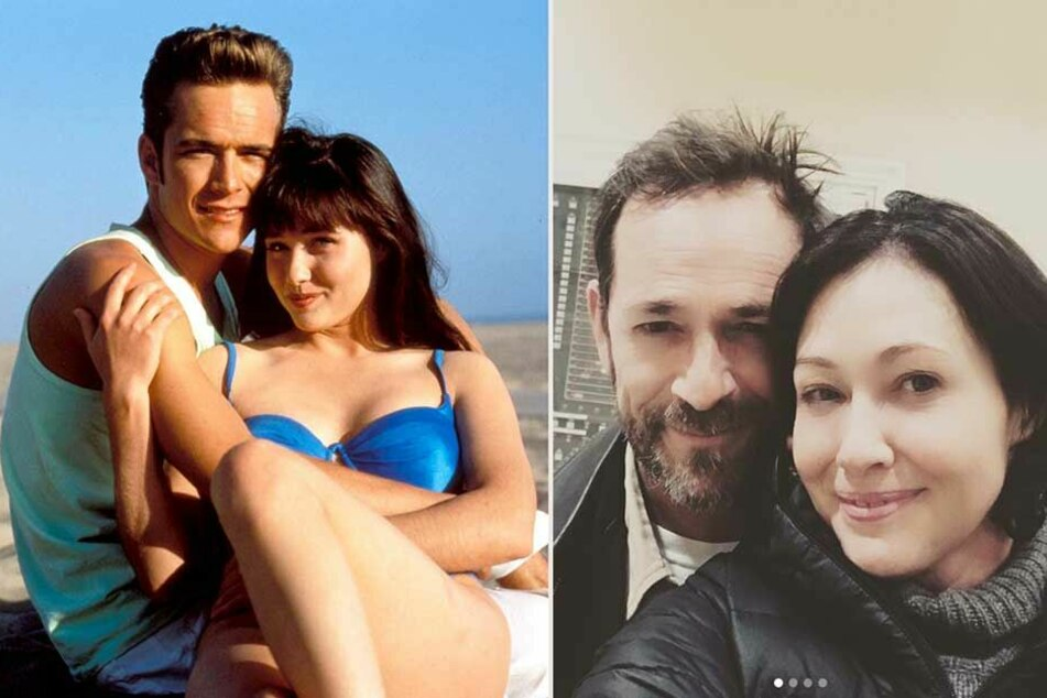 Sie waren DAS Serien-Traumpaar der 90er Jahre - Brenda und Dylan (li.) und waren auch im wahren Leben bis zum Schluss enge Freunde -Shannen Doherty und Luke Perry (re.).