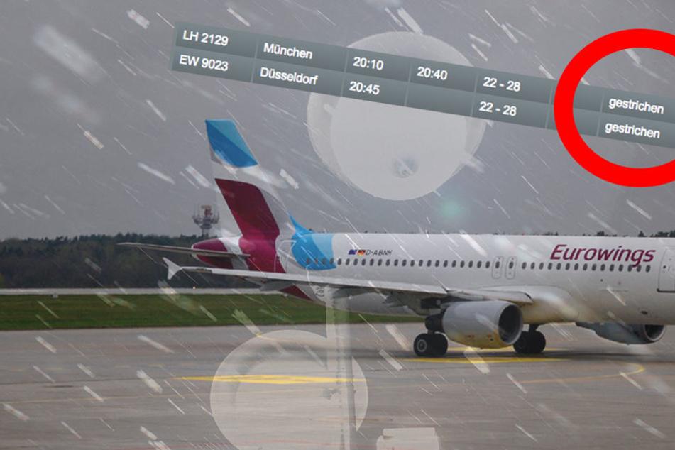 Das Schnee-Chaos sorgte am Flughafen in Dresden für Ausfälle.