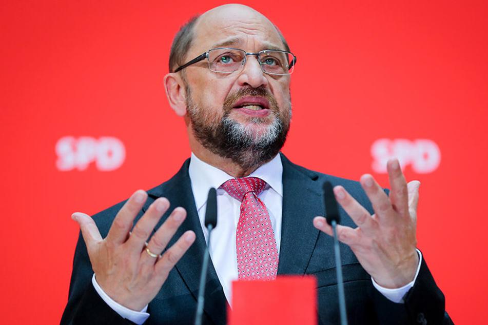Der SPD-Parteivorsitzende, Martin Schulz, in der SPD-Parteizentrale in Berlin während einer Pressekonferenz.