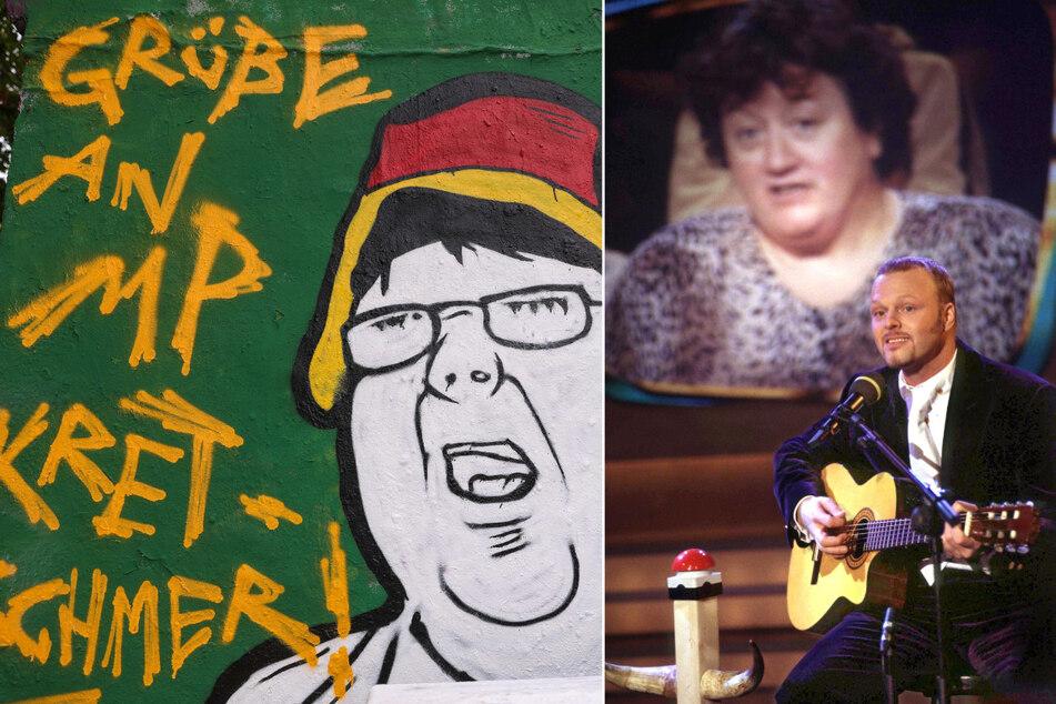 """Links: Kurios: Die Posse um den Hut tragenden LKA-Pegidisten. Rechts: Der Auftritt von Regina Zindler bei TV-Richterin Barbara Salesch inspirierte Stefan Raab zu dem Song """"Maschen-Draht-Zaun""""."""