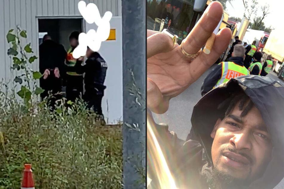 Maxwell dokumentiert in seiner Instagram-Story, wie LX von Beamten abgeführt wird.