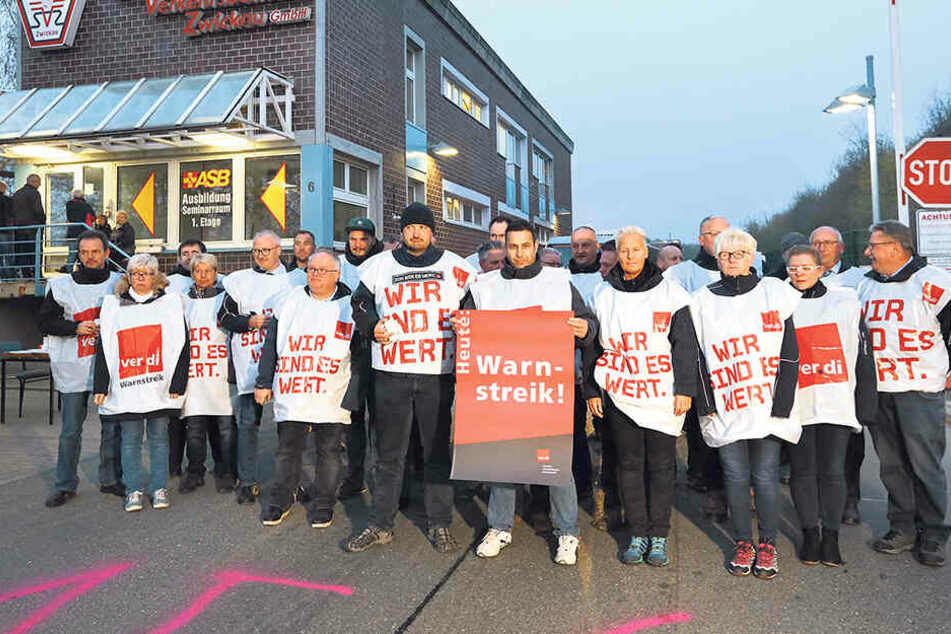 In Zwickau streikten die Busfahrer am Depot des Regionalverkehrs Westsachsen (RVW).