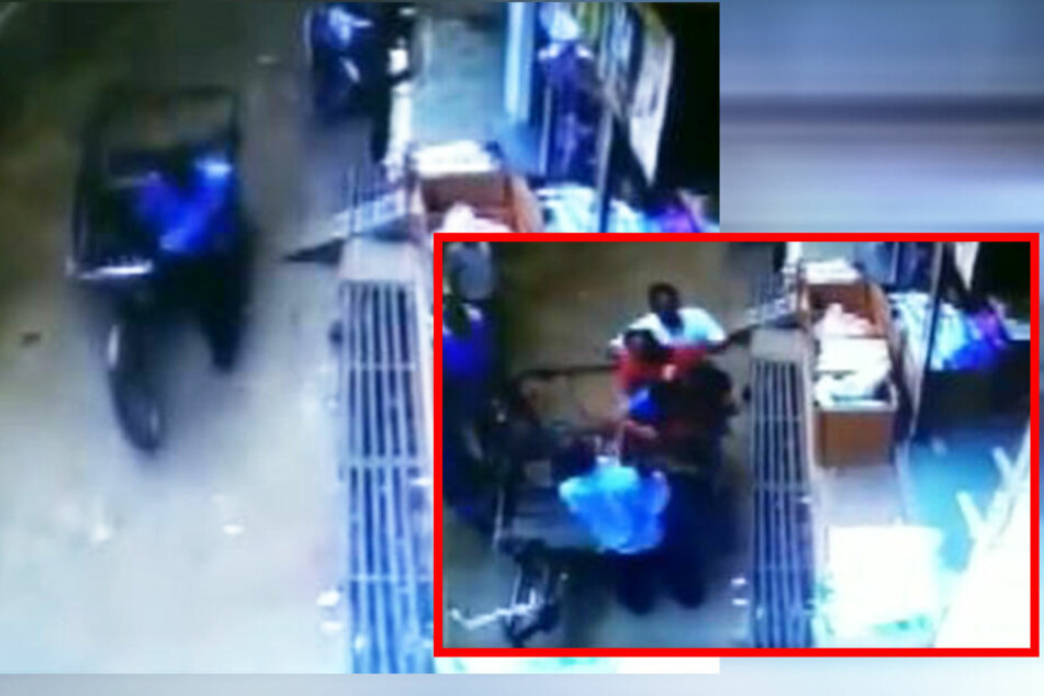 Links schiebt der Mann seine Rikscha durch die Gasse. Rechts (kleines Foto) holen Angehörige das Kind aus dem Anhänger (siehe auch Twittervideo unten).