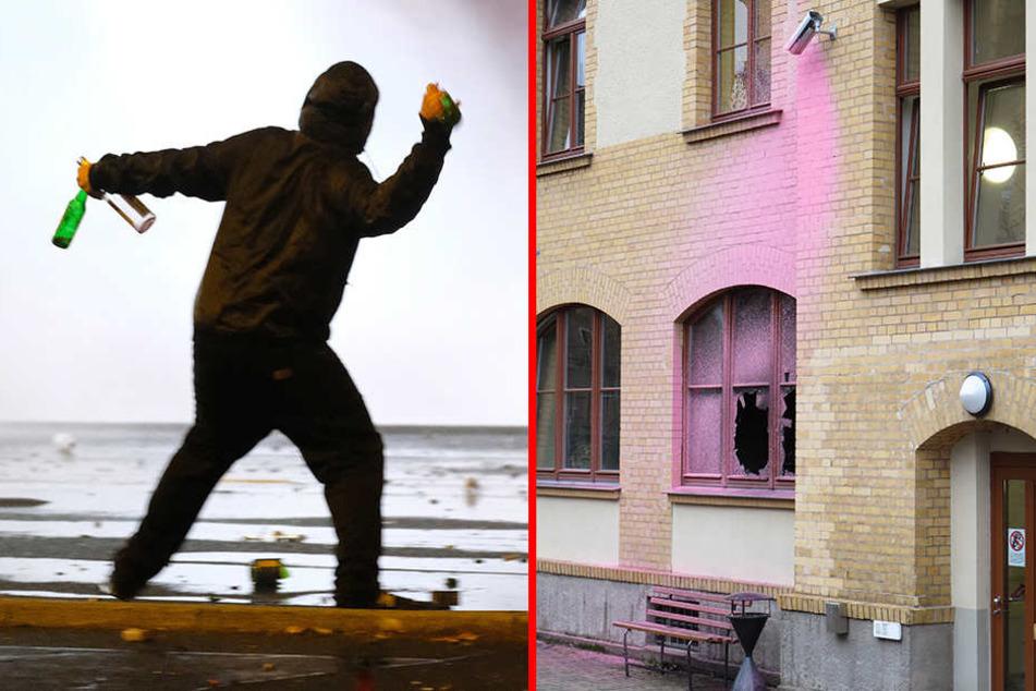 Während Chaoten in Connewitz die Polizei mit Flaschen und Böllern bewarfen (l.), brandschatzten Linksautonome das Haus des Jugendrechts (r.).