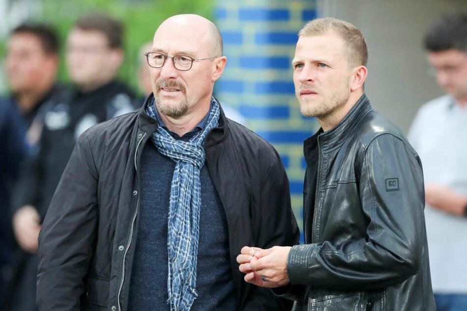 """Wolfgang Wolf (62, l.) ist """"mit Sicherheit bis Winter"""" Interimstrainer beim FCL, Nicky Adler (34, r.) soll der neue Co-Trainer werden."""