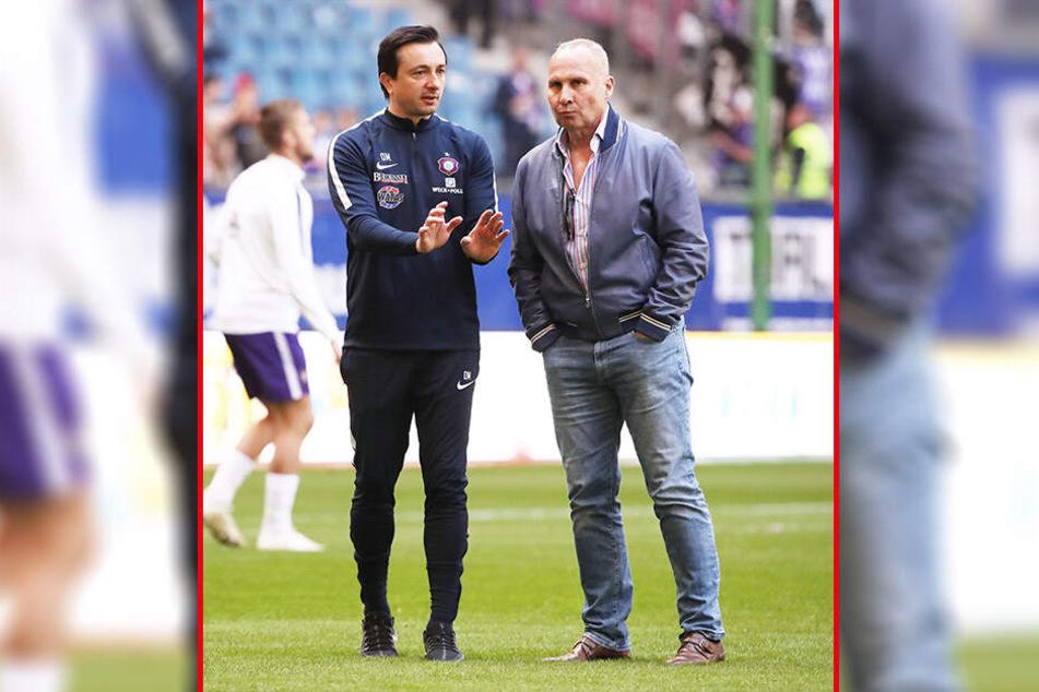 Präsident Helge Leonhardt (r.) und Cheftrainer Daniel Meyer sind nicht vor Punktspielen im regen Austausch. Derzeit basteln sie zusammen am neuen Kader und am neuen Trainerteam.