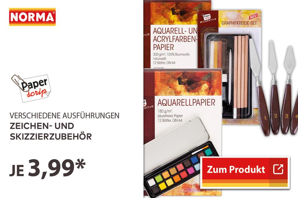 Zeichen- und Skizzierzubehör für 3,99 Euro.