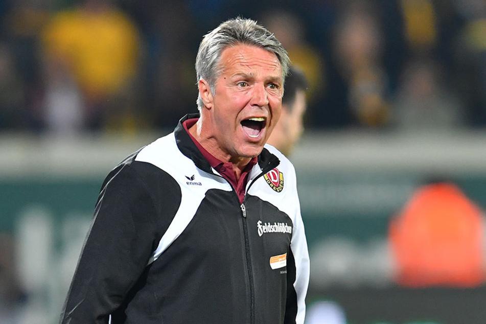 """Dynamo-Coach Uwe Neuhaus schimpfte lauthals: """"So wieder Ausgleich erzielt wurde, war das eine absolute Frechheit, ein irregulärer Treffer."""""""