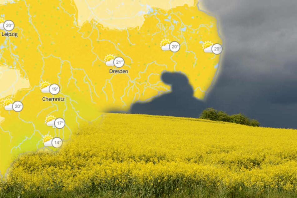 Sonne und Wolken wechseln sich am Wochenende in Sachsen ab. (Fotomontage)