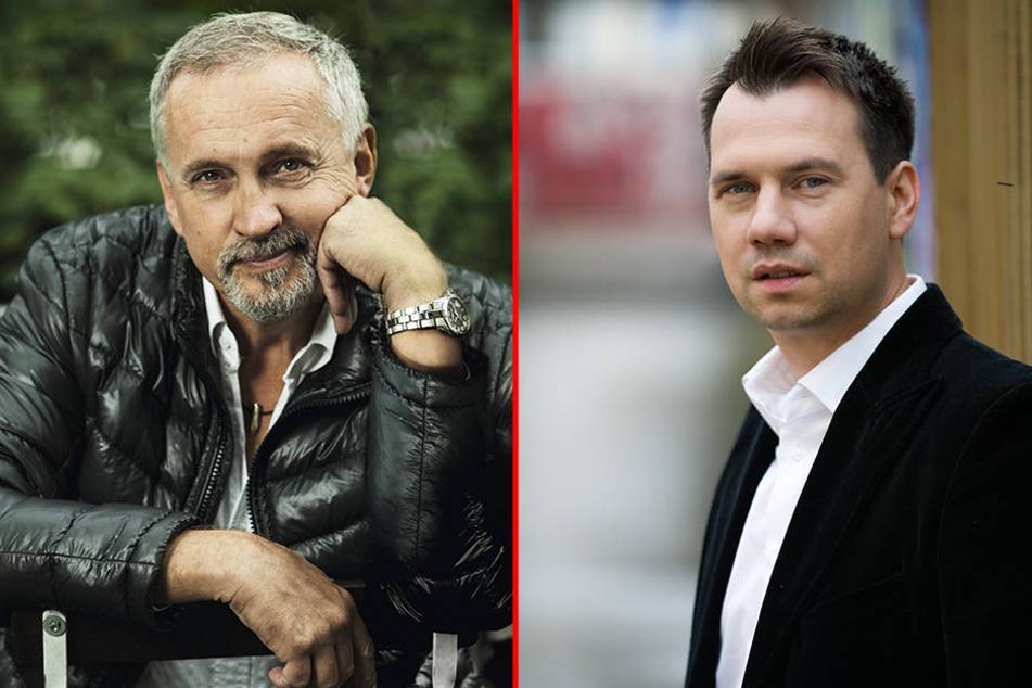 Jussi Adler-Olsen (links) und Sebastian Fitzek (rechts) präsentieren ihre neuesten Werke auf der Leipziger Buchmesse.