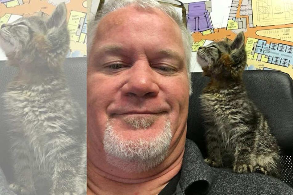 Chuck Hawley und sein Kätzchen sind seit der Rettung ein Herz und eine Seele.