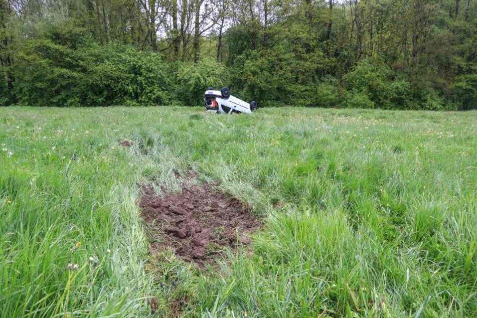 Der Wagen landete auf einer Wiese.