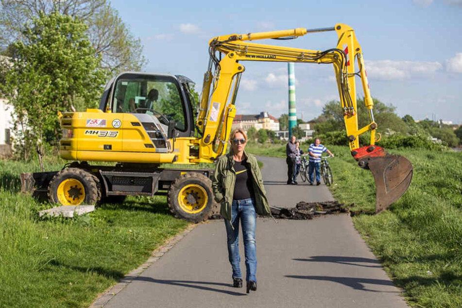 So wurde sie berühmt: Regine Töberich ließ den Elberadweg aufbaggern.