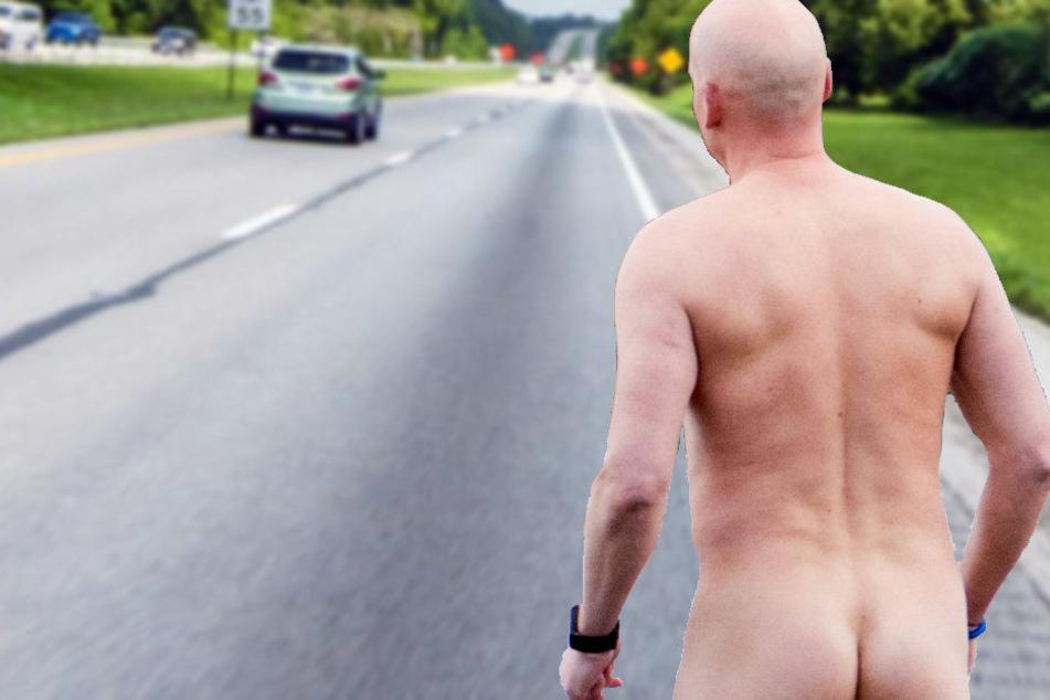 Komplett nackt war der Mann auf der Straße unterwegs. (Symbolbild)
