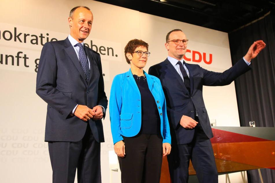 Merz, Kramp-Karrenbauer und Spahn waren nach Seebach gekommen.