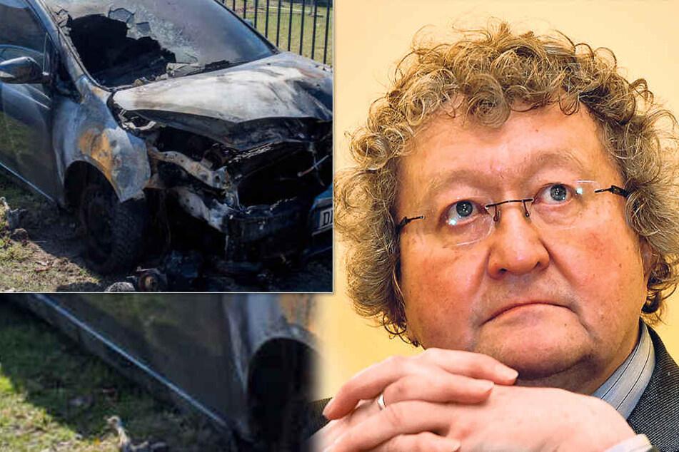 Am 28. März fackelten Unbekannte das Auto von Politikwissenschaftler Werner  Patzelt (63) ab.
