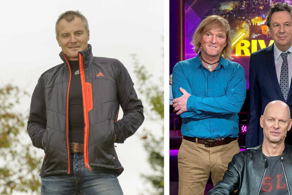 Biathlon-Legende Sven Fischer (l.) ist ebenso im Riverboat zu Gast wie auch Naturfilmer Andreas Kieling (türkises Hemd).