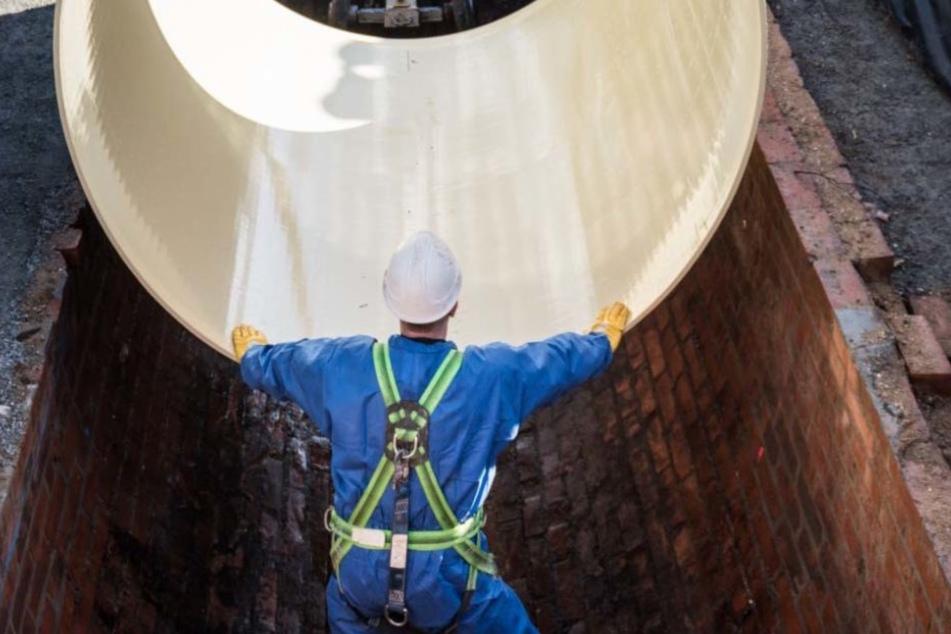 Kanalarbeiten in Leipzig. In diesem Jahr wollen die Wasserwerke 62 Millionen in Kanalnetz und Anlagen investieren.