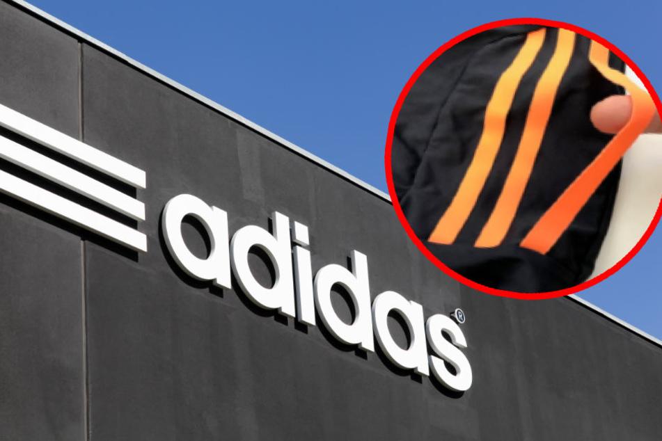 Bei den betroffenen Adidas-Modellen lösen sich die Streifen. (Bildmontage)