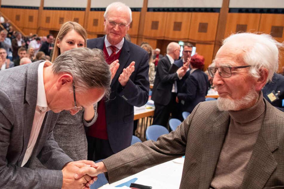 November 2018: Eppler (rechts) auf dem SPD-Landesparteitag in Baden-Württemberg.