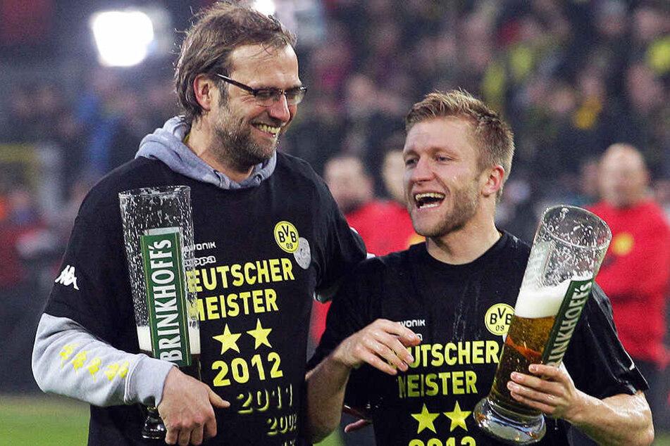 Hatten gemeinsam eine großartige Zeit bei Borussia Dortmund: Jakub Blaszczykowski (r.) und sein damaliger Trainer Jürgen Klopp (l.).