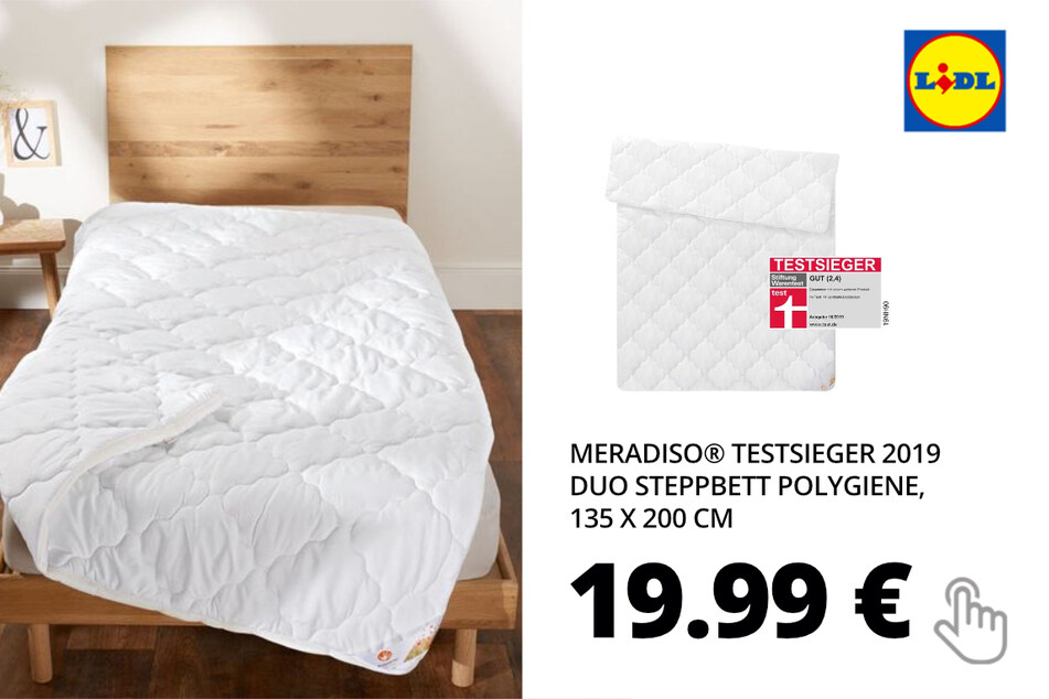 MERADISO® Duo Steppbett Polygiene, 135 x 200 cm