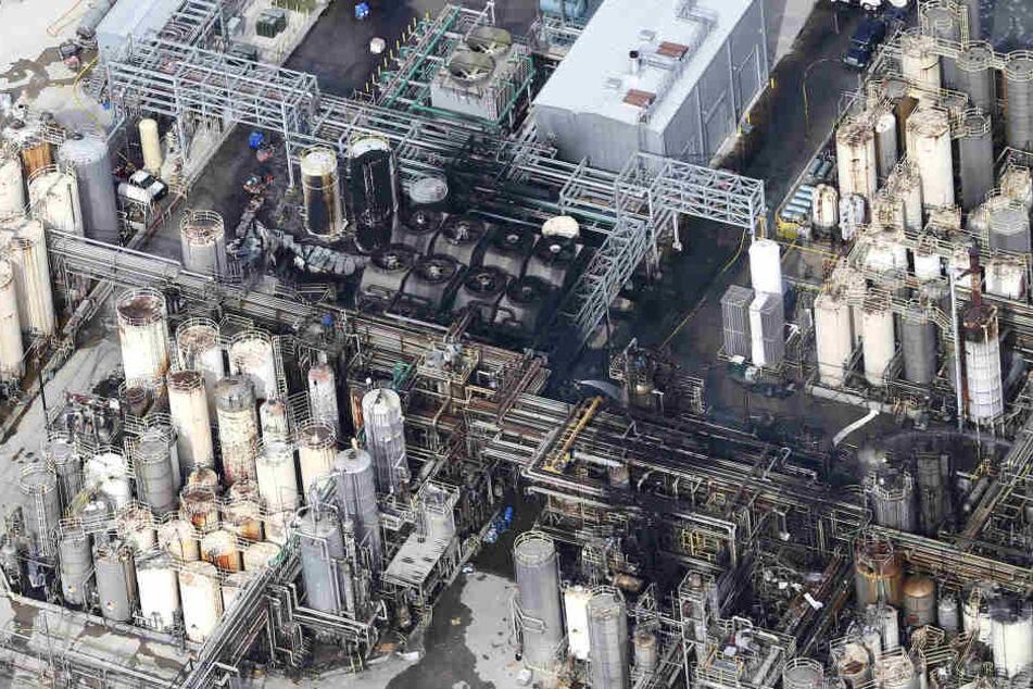 Die Fabrik nach dem Brand.