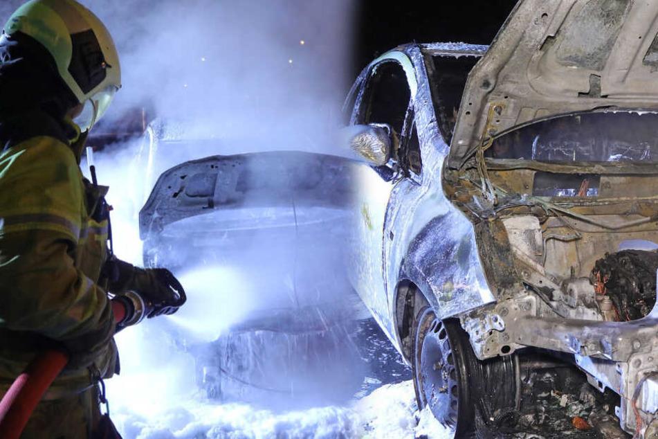 Dresden: Brandstiftung? In Dresden brennen drei Autos lichterloh