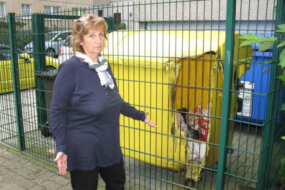 Hat nach dem Mülltonnenbrand neben ihrem Kindergarten in der Ludwigstraße  große Angst: Kerstin Schäfer (59).