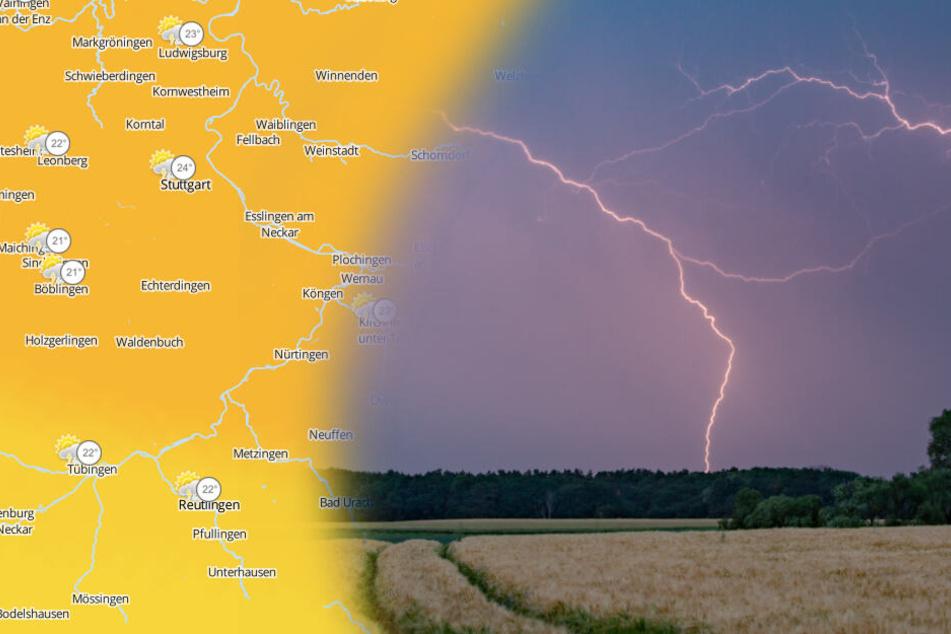 Blitz und Donner gehört am Freitag in Baden-Württemberg zum Wetterprogramm. (Fotomontage/Symbolbild)