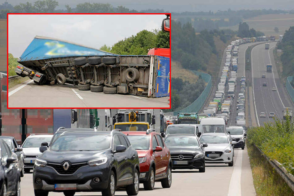 Mega-Stau auf A4: Laster stürzt um, Fahrbahn blockiert