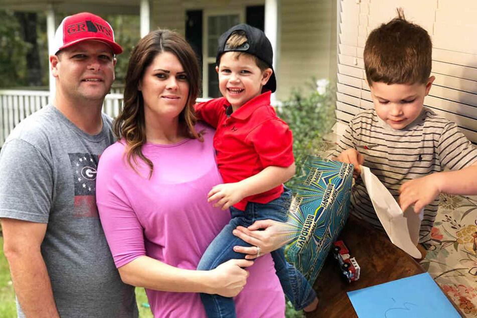 Everett gemeinsam mit seinen Eltern Tori und Corey.