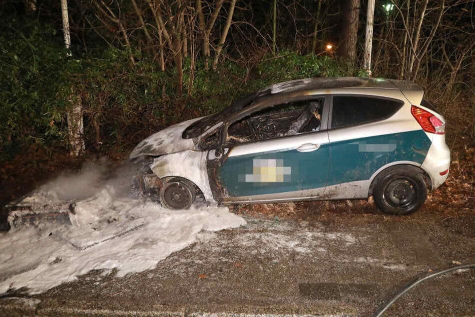 """Auf der Straße """"Zur Wetterwarte"""" ist am Donnerstag gegen 23.30 Uhr ein Auto in Brand geraten."""