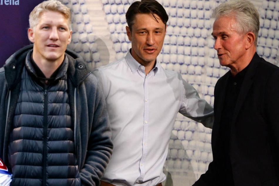 Jupp Heynckes (r.) spricht über Bastian Schweinsteiger (l.) und Niko Kovac (M.).