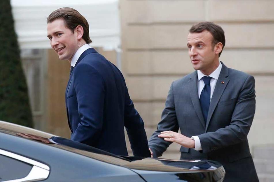 Österreichs Bundeskanzler Sebastian Kurz (31, li.) und Frankreichs Präsident Emmanuel Micron (40) sind deutlich jünger als die allermeisten deutschen Bundestagsabgeordneten.