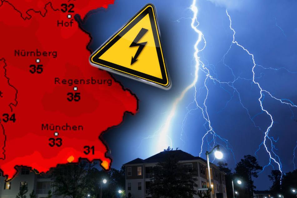Bei den hochsommerlichen Temperaturen kommt es zu kräftigen Gewittern (Symbolbild).